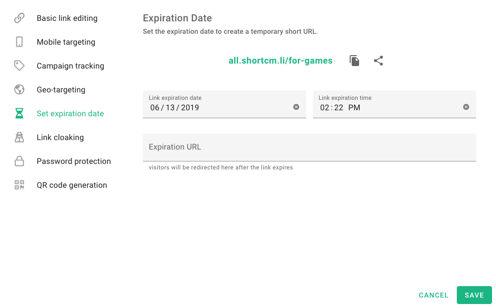 Expiration date and time settings on Short.io (formerly short.cm)